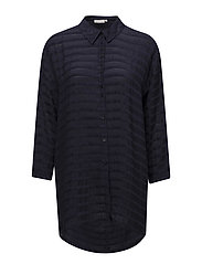 Iola blouse oversize long slv - NAVY