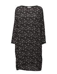 Nikita dress A-shape long slv - BLACK ORG