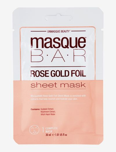MasqueBar Foil Rosé Gold Sheet Mask - ansiktsmasker - clear