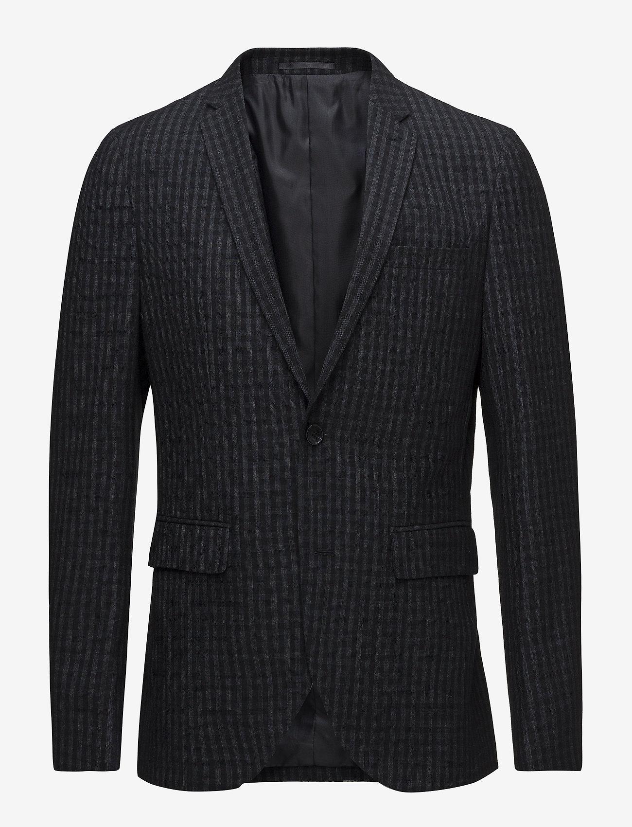 Matinique - George Square Check Blazer - single breasted blazers - dark navy