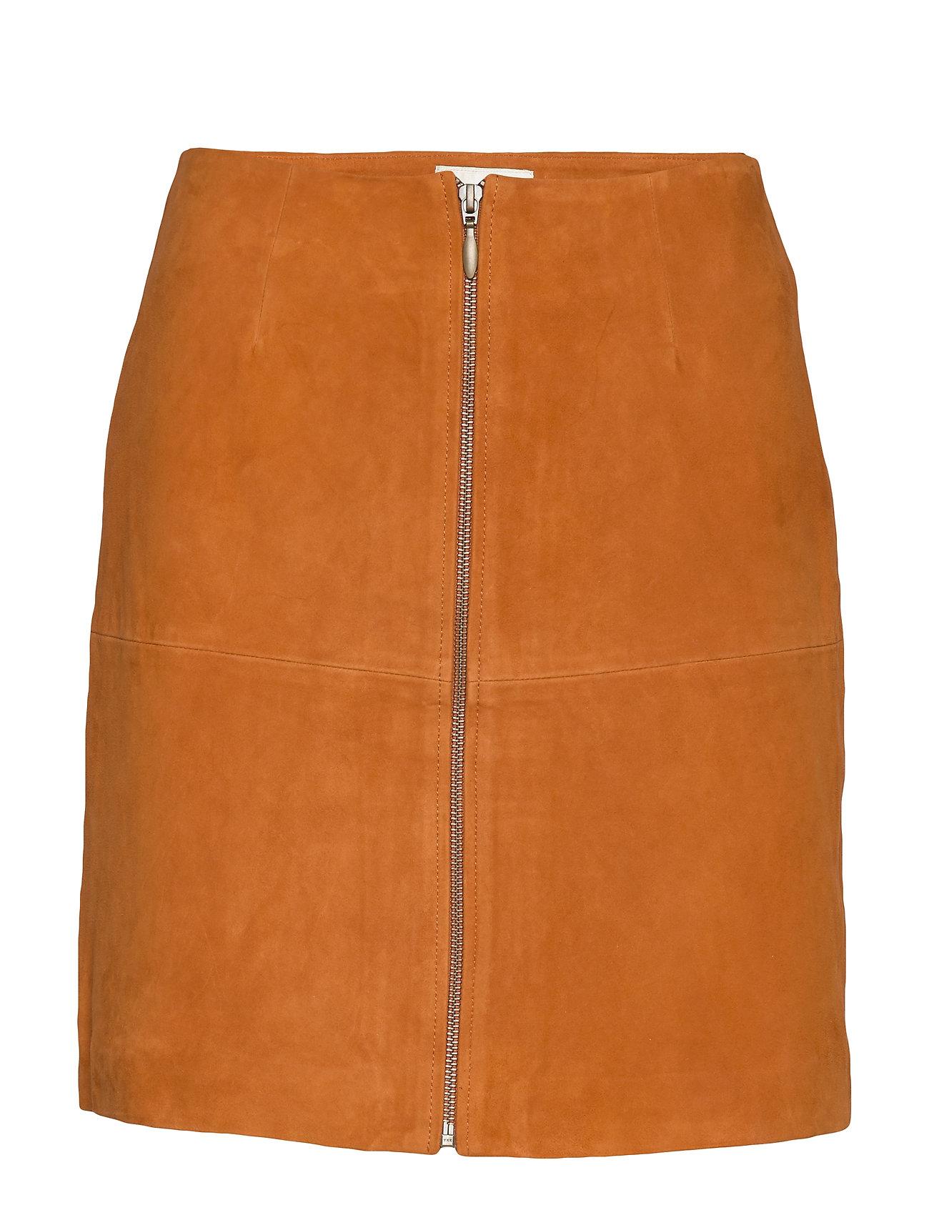 Image of Leather Skirt Short Kort Nederdel Orange MAUD (3406239635)