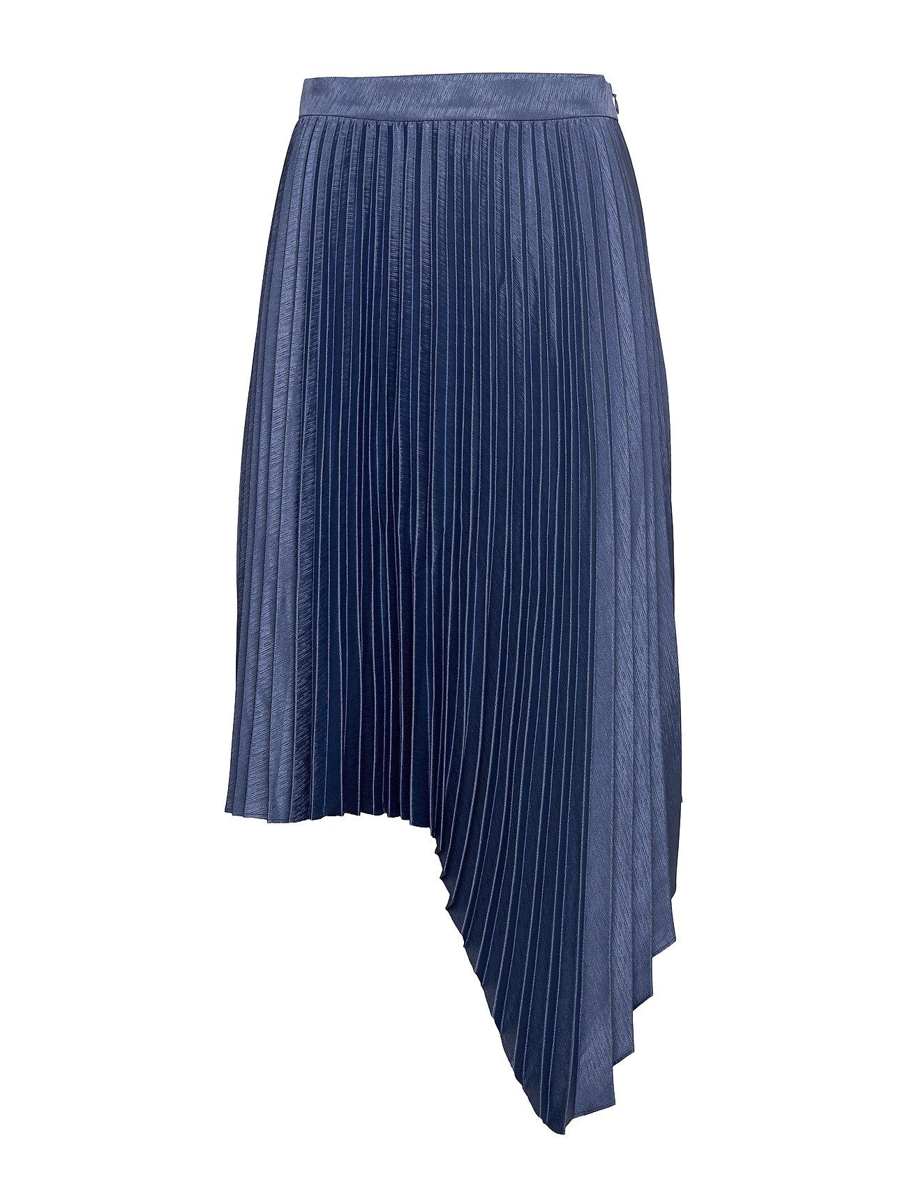Image of Pleated Long Skirt Knælang Nederdel Blå MAUD (3360910161)