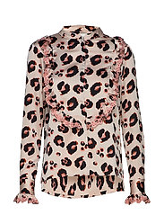 Leopard Printed Ruffle Blouse - CLOUD DANCER