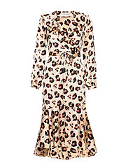 Leopard Printed Ruffle Dress - CLOUD DANCER