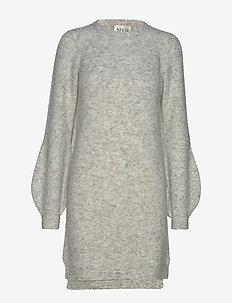 Fluffy Rib Dress - GREY MELANGE