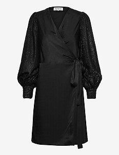 CONTRAST SLEEVE DRESS - omslagskjoler - black