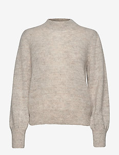 FANCY MOHAIR KNIT - swetry - cement