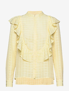 Frill Shirt Check - langärmlige blusen - double cream
