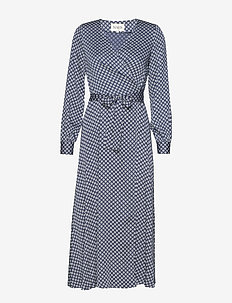 Printed wrap Dress - BLUE HORIZON