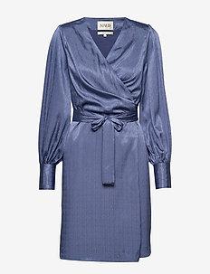 Rouleau cuff Dress - wickelkleider - blue horizon