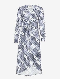 Printed Cape Dress - wickelkleider - white