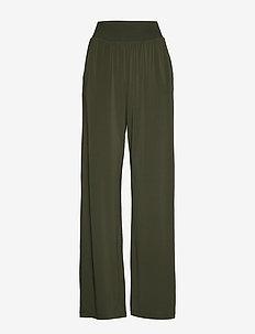 CRATERE - wide leg trousers - khaki green