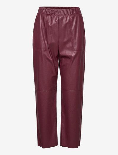 COLOSSO - leren broeken - burgundy