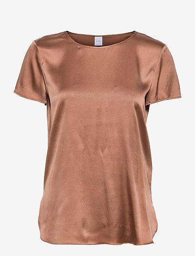 CORTONA - short-sleeved blouses - tobacco