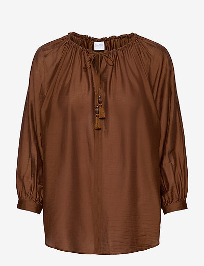 FAREA - long sleeved blouses - brown