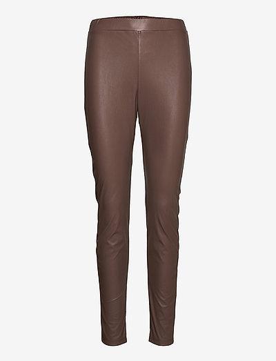 RANGHI - leather trousers - turtledove