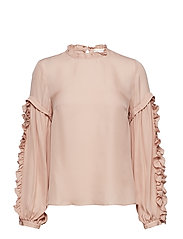 Valeria Frill Sleeve Blouse - CREME