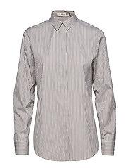 Stripe Boyfriend Shirt - BROWN/CRéME