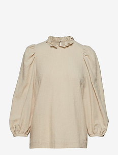Carly Puff Sleeve Top - OAT