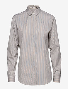 Stripe Boyfriend Shirt - BROWN/CRéME