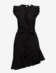 Nicole Embroidery Midi Dress - BLACK