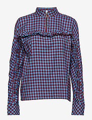 mbyM - Babara - long sleeved blouses - bonnie blue red check - 0