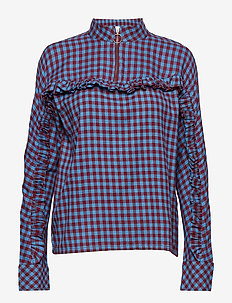 Babara - long sleeved blouses - bonnie blue red check