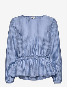 Mina - long sleeved blouses - athalie blue stripe