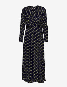 Evelia - wrap dresses - night charlock dot print