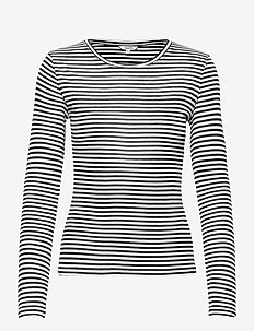 Lilita - langærmede toppe - black sugar stripe