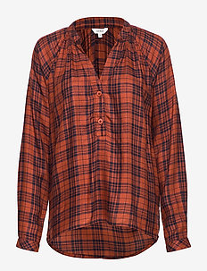 Sirin - long sleeved blouses - brown shadow check
