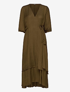 Bibbi - wrap dresses - military olive