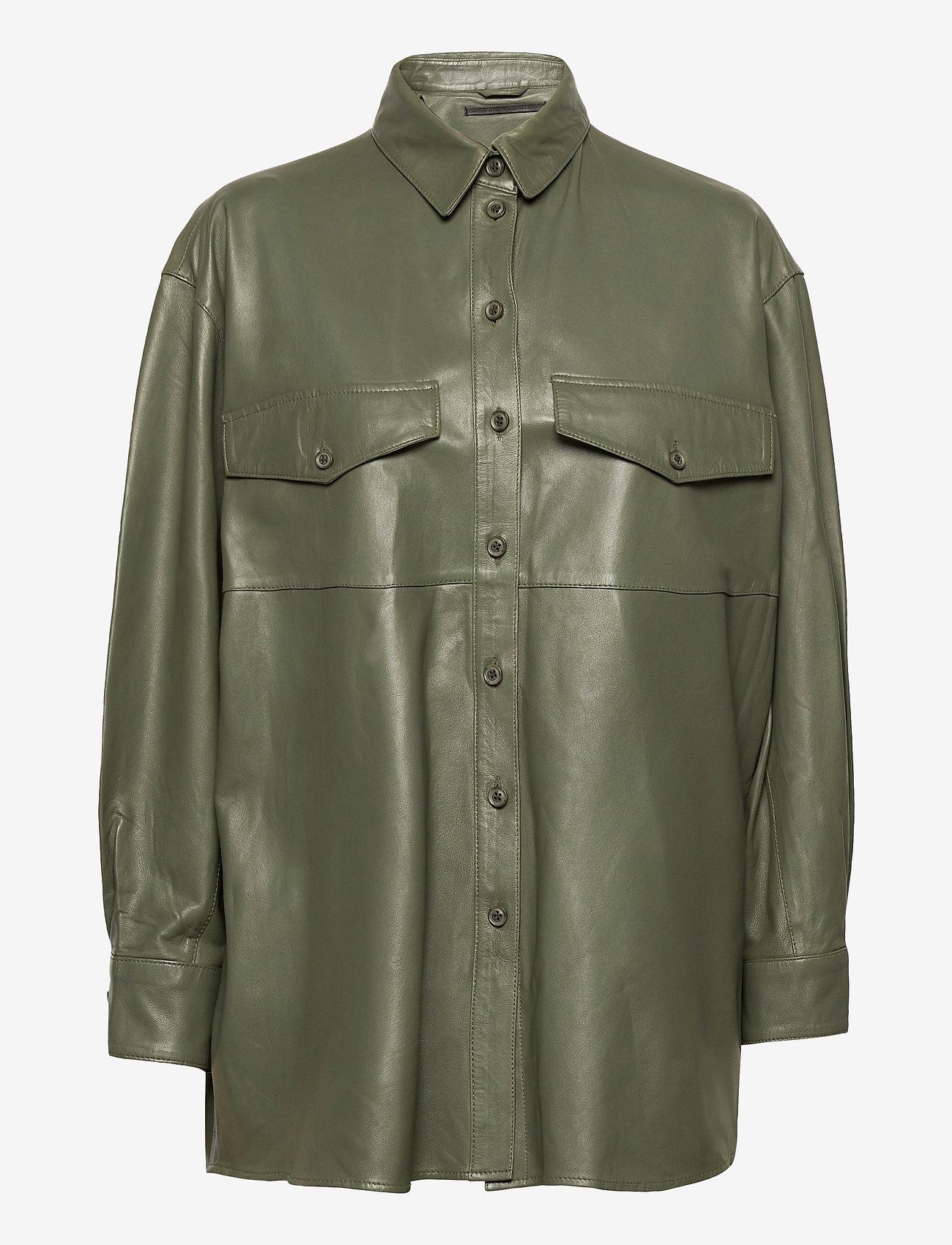 MDK / Munderingskompagniet - Agnes thin leather shirt - overshirts - four leaf clover - 0
