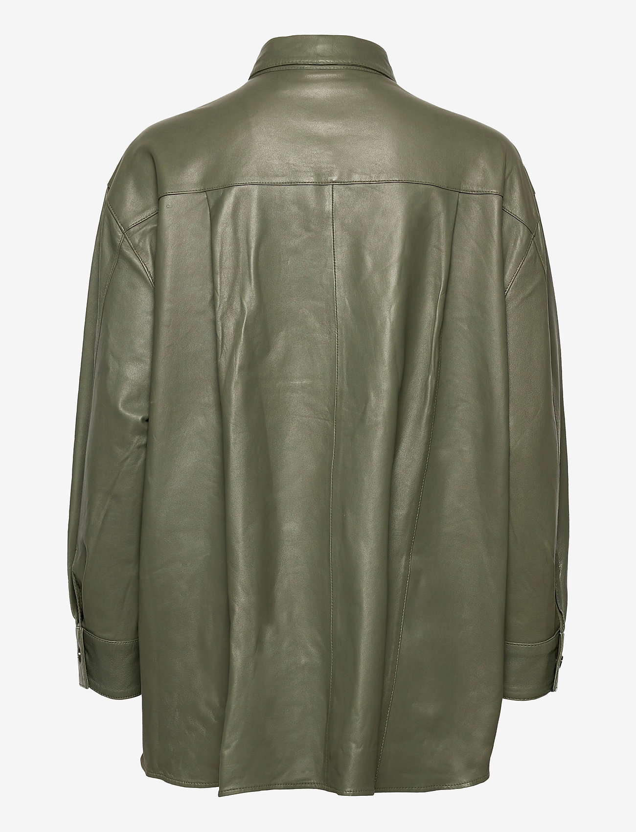 MDK / Munderingskompagniet - Agnes thin leather shirt - overshirts - four leaf clover - 1