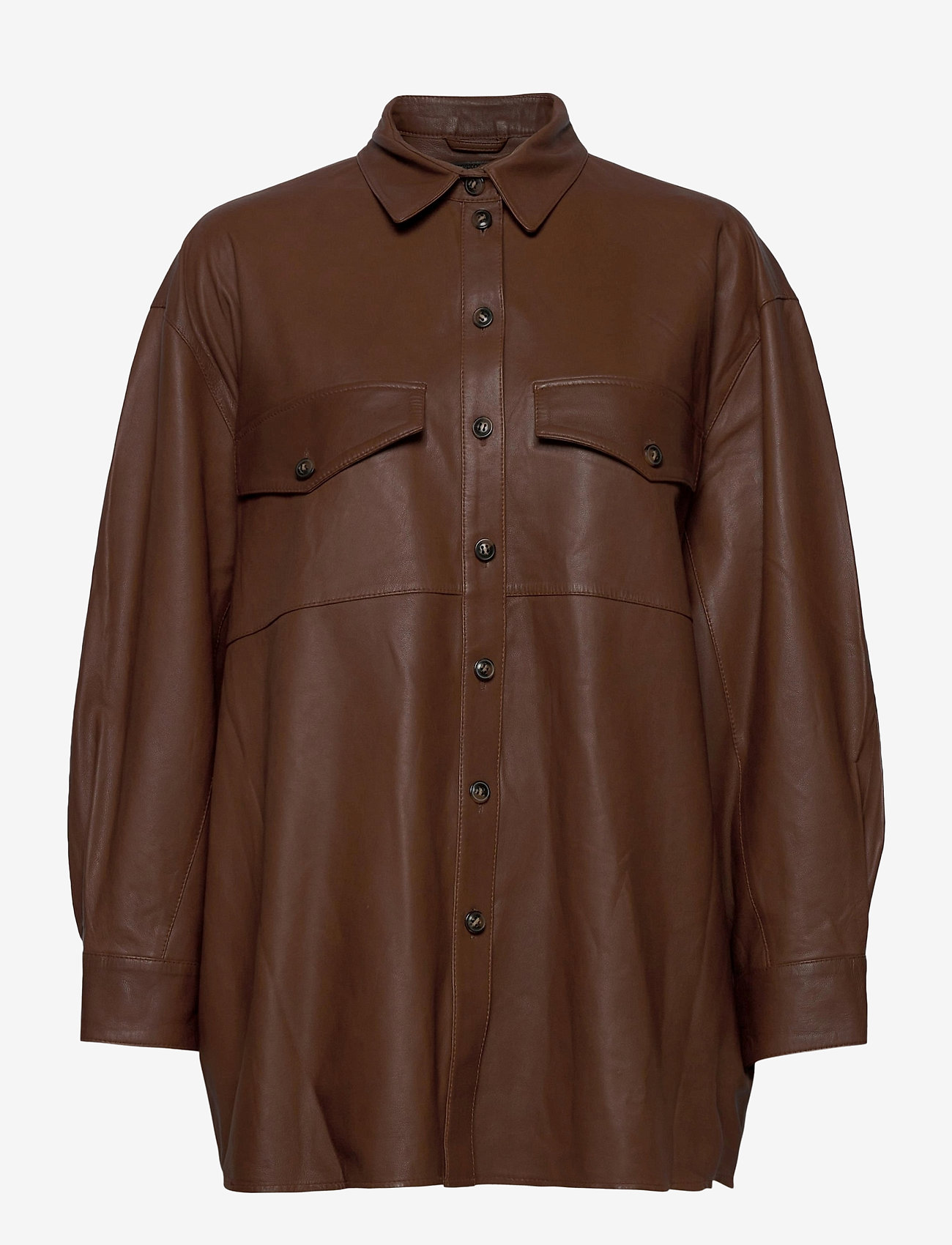 MDK / Munderingskompagniet - Agnes thin leather shirt - overshirts - monks robe - 0