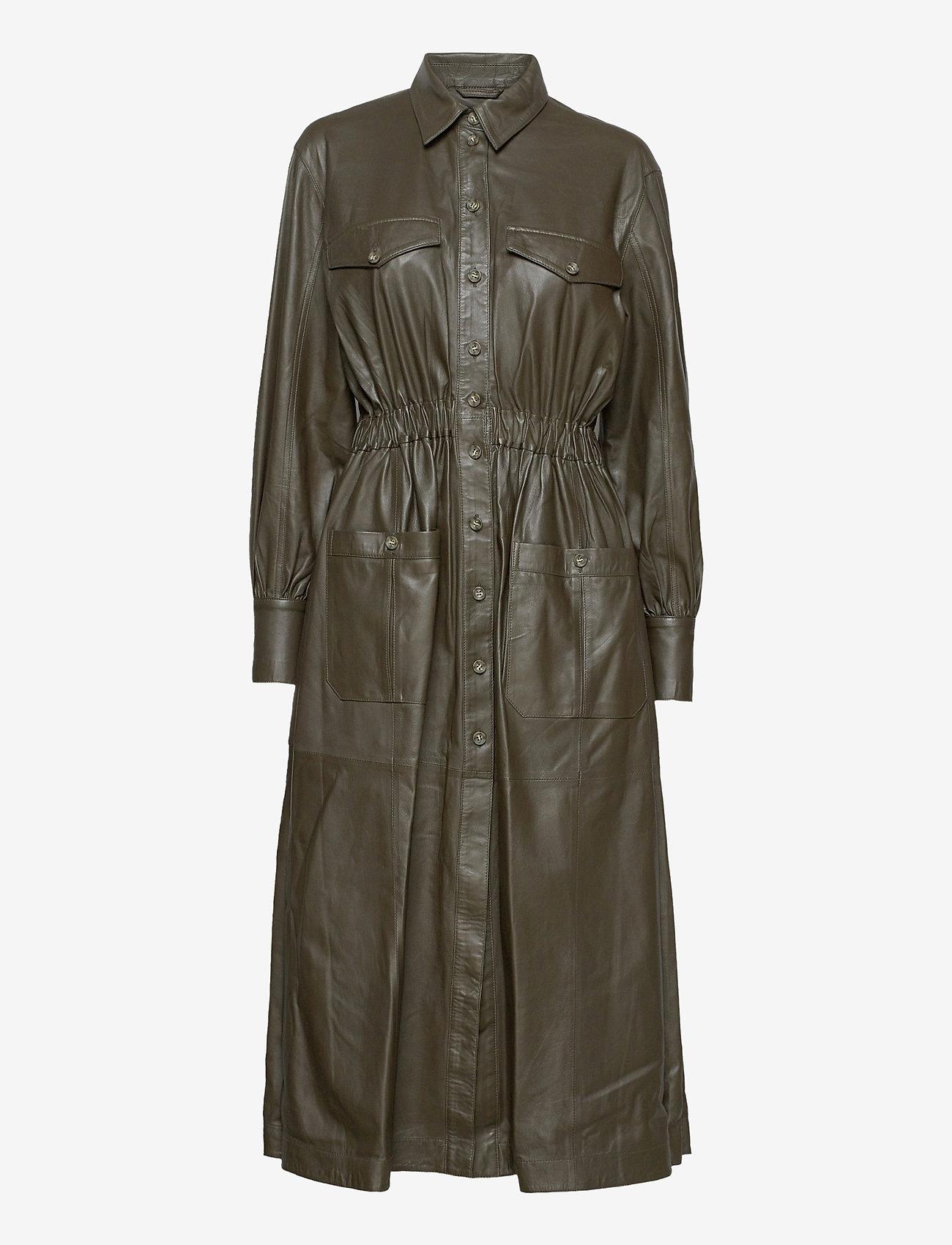 MDK / Munderingskompagniet - Lily thin leather dress - skjortklänningar - dark green - 0