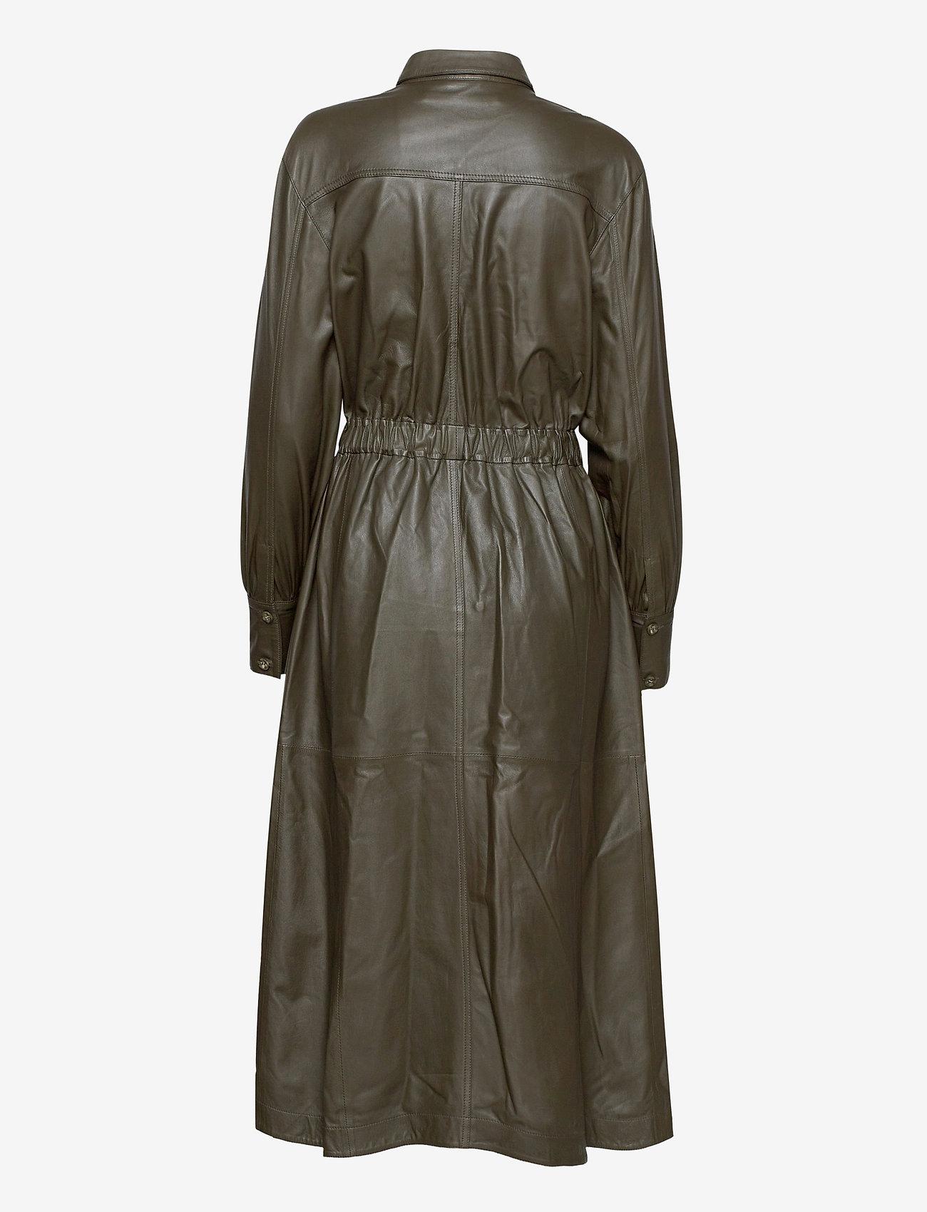 MDK / Munderingskompagniet - Lily thin leather dress - skjortklänningar - dark green - 1