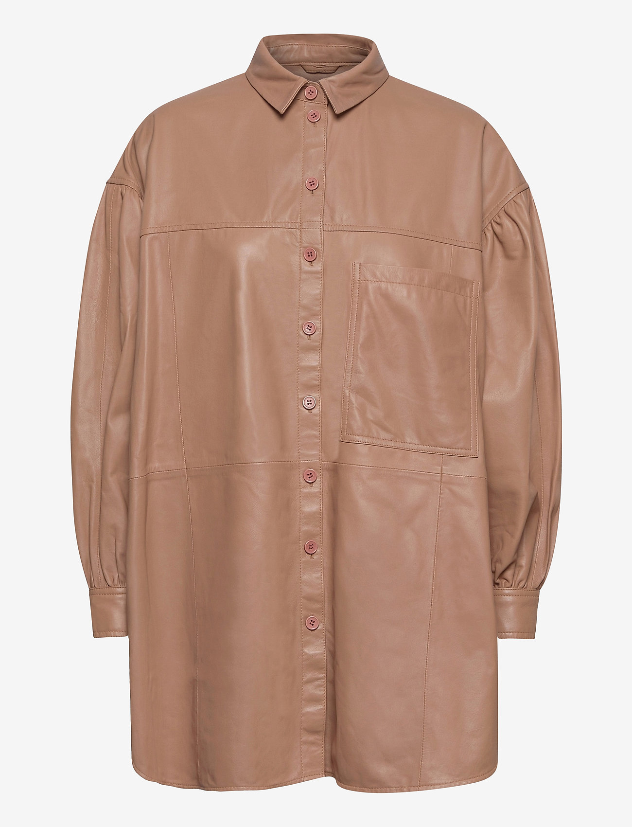 MDK / Munderingskompagniet - Emma leather shirt - overshirts - praline - 0