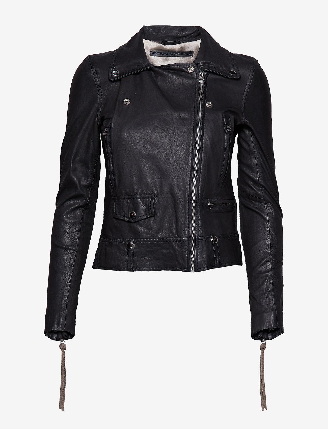 MDK / Munderingskompagniet - Seattle new thin leather jacket (yellow) - skinnjackor - black - 1