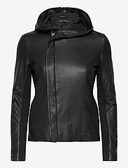 MDK / Munderingskompagniet - Stine hood leather jacket - skinnjackor - black - 0