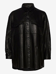 MDK / Munderingskompagniet - Agnes thin leather shirt - overshirts - black - 0