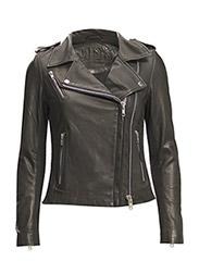 Viola leather jacket (black) - BLACK