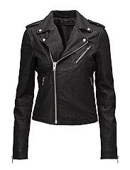 Bubble biker jacket (antler rose) - BLACK
