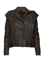Enola leather jacket (bungee cord) - BUNGEE CORD