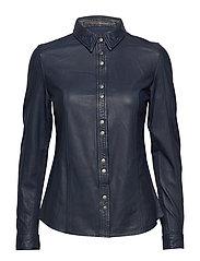 Mathina leather shirt (blue night) - BLUE NIGHT