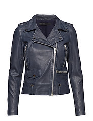Seattle colour leather jacket (blue night) - BLUE NIGHT