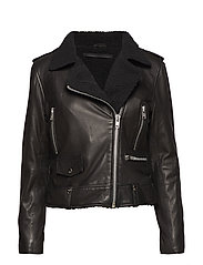 Seattle fur leather jacket (black) - BLACK