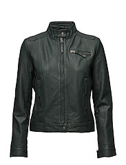 Karla leather jacket (green) - GREEN