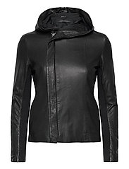 Stine hood leather jacket - BLACK