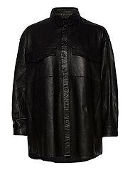 Agnes thin leather shirt - BLACK